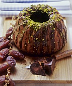 Chocolate cake with dates and pistachios