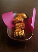 Peanut caramel squares (with chocolate base)