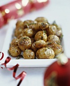 Baked potatoes with rosemary, Christmas decorations