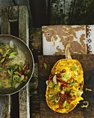 Spaghetti squash with lime butter and dried tomatoes
