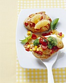 Pizza-style turkey escalopes (with vegetable & Hawaiian toppings)