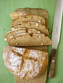 Potato nut bread, partly sliced