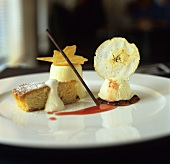 Dessert assiette: cake, panna cotta and apple ice cream