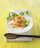 Fried rice with vegetables, pineapple and coriander