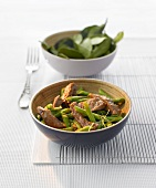 Beef with green beans and lime leaves