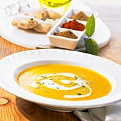 Middle Eastern cream of carrot soup with ginger & crème fraîche