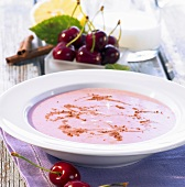 Summery cherry soup with cinnamon and lemon