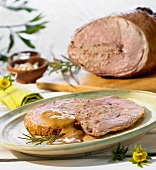 Leg of lamb with chorizo and mince stuffing