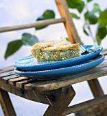 A piece of Greek leek and feta pie