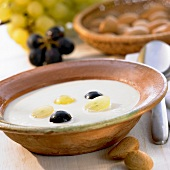 Cold almond soup with grapes