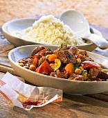 Lamb ragout with saffron, chick-peas and couscous