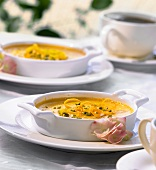 Baked honey and orange custard with pistachios