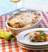 Baked aubergine dish with tomatoes and mozzarella