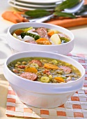 Lentil & bacon stew & vegetable stew with smoked, cured pork