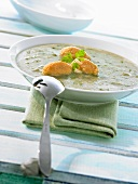 Cream of chard soup with cheese & pepper dumplings in soup plate