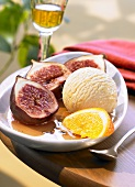 Figs in honey, wine & orange syrup with vanilla ice cream