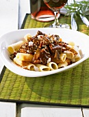 A plate of beef ragout and rigatoni