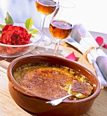 Crema catalana (Spain) and two glasses of sherry