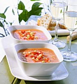Two dishes of gazpacho (Spain) & two glasses of white wine