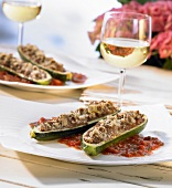 Stuffed courgettes with tomato sauce & a glass of white wine