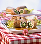 Involtini di vitello (Veal rolls with ricotta & spinach filling)