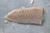 A slice of fresh coley fillet