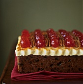 Christmas cake with marzipan and glacé cherries
