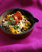 Yellow dal (Indian pulse dish) with raisin rice