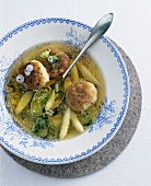Broth with asparagus and cheese dumplings (Pressknödel)