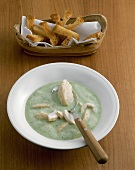 Ramsons (wild garlic) soup with trout fillets