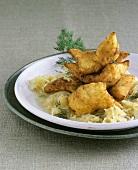 Potato Friggele (a type of fritter) with sauerkraut