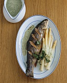 Grilled charr with asparagus and cress sauce