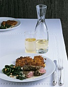 Venison steaks with pumpkin rösti and spinach