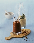 Peanut and pine nut vinaigrette and yoghurt dressing