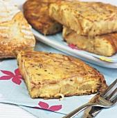 Potato tortilla with white bread