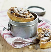 Raisin and nut Danish in a tin