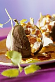 Figs stuffed with soft cheese, pine nuts and honey
