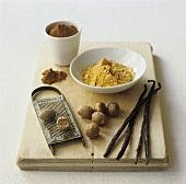 Nutmegs, vanilla pods, ground ginger and cinnamon