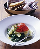 Braised Swiss chard with peppers and rosemary