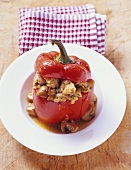 Stuffed red pepper with bread and mushroom stuffing