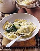 Ravioli mit Mangold-Quarkfüllung in Butter geschwenkt