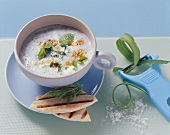 Cold cucumber and yoghurt soup with mint