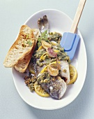 Oven-baked sea bream with lemon and herb breadcrumbs