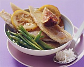 Fried sole with figs, lemon and sugar snap peas