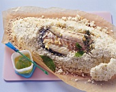 Sea bass baked in salt crust, with spiced oil