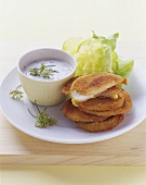 Kohlrabi escalopes with Parmesan and herb yoghurt