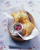 Puff pastry triangles with sauerkraut filling & beetroot dip