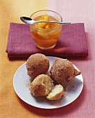 Deep-fried quark balls with apricot compote