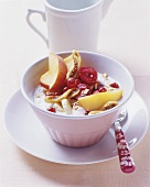 Muesli with fresh fruit, quark and milk
