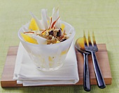 Chicory and orange salad with walnuts and olives